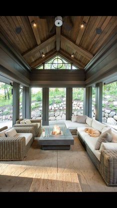 Must have a screened in porch! Screened in Porch paint color, Screened in porch with stained shiplap ceiling and dark trim painted in Sealskin Sherwin Williams Hendel Homes Future House, Style At Home, Stained Shiplap, Outdoor Spaces, Outdoor Living, Outdoor Seating, Outdoor Sheds, Outdoor Landscaping, Landscaping Ideas