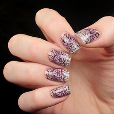 Stamping and purple ombre nail art