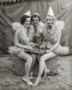 The young ladies were part of the Al G. Barnes circus performances throughout March and April of 1935 in Los Angeles, California. Every photo is printed using the Giclée printing format, on thick acid-free, archival photo paper and archival inks. Vintage Circus Performers, Vintage Circus Photos, Vintage Circus Costume, Funny Vintage Photos, Vintage Photographs, Vintage Images, Vintage Posters, Old Circus, Dark Circus