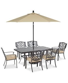 Park Gate Outdoor Cast Aluminum 7-Pc. Dining Set (68 x 38 Dining Table and 6 Dining Chairs) - Outdoor & Patio Furniture - Furniture - Macy's