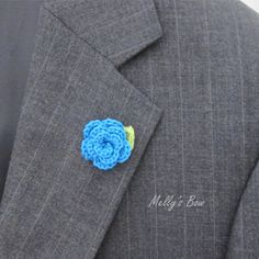 Rose Boutonniere Crochet Lapel Flower 1 by MellysBow on Etsy