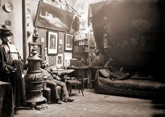 This is the Parisian atelier of painter Jules Thulot, little-known today, but in this photograph we get an intimate look inside his personal space. A fabulously bohemian lair, begging to be explored inch by inch. It was the discovery of this photograph that sent me on my hunt for today's compendium