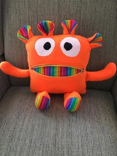 Worry Monster Worry Eater bright orange/rainbow by TheArtisanBarn https://www.facebook.com/Just-Four-Kids-LLC-1236007589810752/