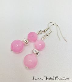 Rose Pink Coral Drop Earrings Bridesmaid by LynnsBridalCreations