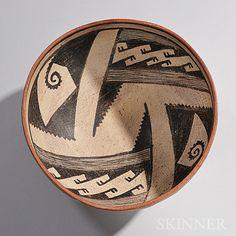 Gila Geometric Polychrome Pottery Bowl. 1200-1400.