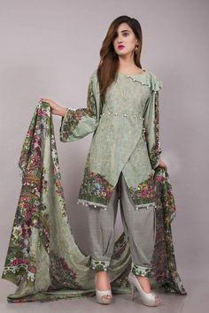 Eid Collection 2020 , All the latest New Eid embroidered Lawn . Pakistani Fashion Casual, Pakistani Dresses Casual, Pakistani Dress Design, Indian Fashion, Casual Dresses, Fashion Dresses, Stylish Dresses For Girls, Stylish Dress Designs, Designs For Dresses