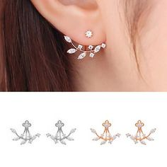 Women's+925+Silver+Needle+Leaves+Cubic+Zircon+Crystal+Stud+Earrings