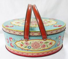 vintage tin metal oval large sewing storage lunch box lid and handles floral