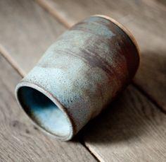 ntpdesigns ceramic hand-thrown vase - matt speckled brown and blue matt glazing