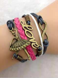 Ballerina, love & infinity bracelet ,diy cheap fashion leather bracelet,handmade bracelet shop at www.costwe.com