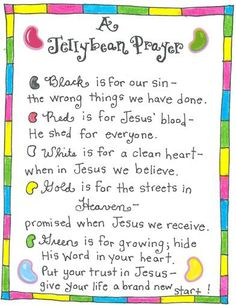Jellybean prayer with a package of jelly beans makes a great Sunday School Easter gift.