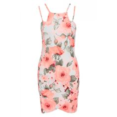 """Neon Floral Print Bodycon Dress, Double Strap Detail, Cross Over Detail  Approximate Length: 34"""" / 86cm  Material: 95% Polyester 5% Elastane  Sizes 8-12  Item number: SW010  £28"""