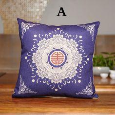 Vintage blue and white porcelain throw pillow for home decor linen pillows