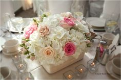 White hydrangea, champagne and pink roses and spray roses.  Photos: Church Street Studio  Flower: Parsonage Events