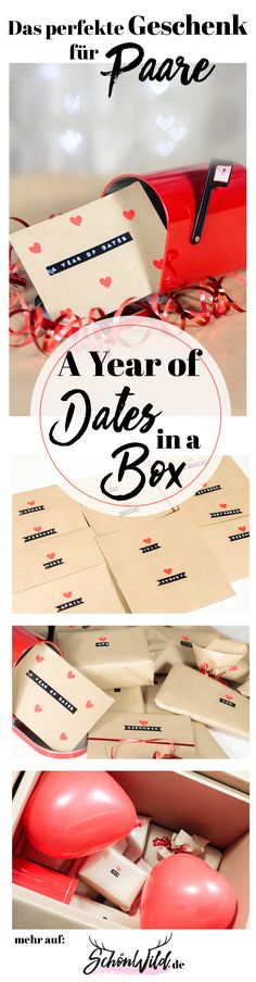 Wer auf der Suche nach dem perfekten Geschenk für Paare und Verliebte ist, findet hier eine kreative Idee. A Year of Dates - in a Box! Mit diesem Geschenk, lasst ihr die Herzen aller Paare höher schlagen. Egal ob Hochzeitsgeschenk, Valentingstagsgeschenk, Geburtstagsgeschenk, Geschenk für Pärchen, als Geschenk für den Partner. Seien sie kreativ! Mehr auf www.SchönWild.de