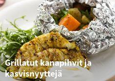 Grillatut kanapihvit ja kasvisnyyttejä, Resepti: Kariniemen #kauppahalli24 #resepti #kanapihvi #kana #grilliruoka #kasvisnyytit #ruokaideat Meat, Chicken, Food, Essen, Meals, Yemek, Eten, Cubs
