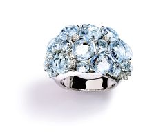 """A & Furst """"Bouquet"""" Dome Ring with Blue Topaz and Diamonds, 18k White Gold."""