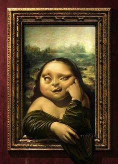 0357 Antonio de Luca - The Scream VS Mona Lisa (solo Mona Lisa) Mona Lisa Parody, Mona Lisa Smile, Foto Art, Italian Artist, Cute Disney, Disney Wallpaper, Funny Art, Oeuvre D'art, Caricature