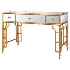 Brigitte Regency Mirrored Antique Gold Bamboo Console Desk
