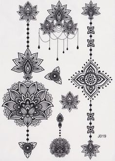 Black and White Assorted Lotus Temporary Tattoo Sheet, Mandala Tattoo, Temporary Tattoo Mandala, Lotus Tattoo, Aztec Tattoo, Tribal, Black and White, Henna Art, Maori Art, Polynesian