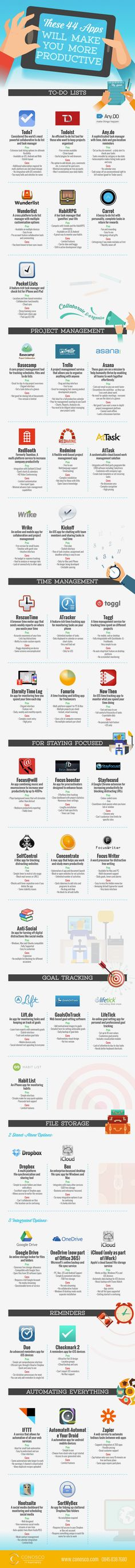 44 Productivity Smartphone Apps [Infographic, Mobile] We all would love to become more productive and procrastinate less. These days, there are plenty of apps and tools that can help you stay on track with your projects. Marketing Mail, Marketing Trends, Online Marketing, Digital Marketing, Affiliate Marketing, Marketing Innovation, Marketing Technology, Web 2.0, Le Web