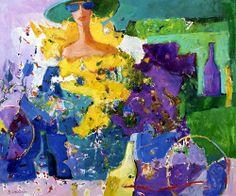 """""""Pijane butelki"""", 80x100 cm, oil on canvas, signed: B.Wąsowska; © Beata Wąsowska, 1994 [nr kat. 14-03]"""