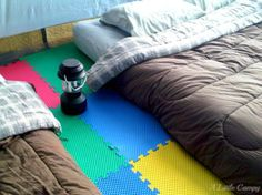 Use foam squares to make tent camping more comfortable.