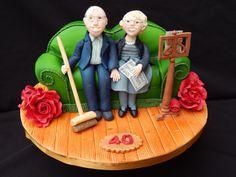 Sofa broom singing Anniversary cake Cake by Elizabeth Miles Cake Design Fondant Toppers, Fondant Cakes, Unique Cakes, Creative Cakes, Cupcakes, Cupcake Cakes, Fondant People, Happy Anniversary Cakes, 80 Birthday Cake