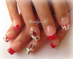 Rojas... Long Nail Art, New Nail Art, Cute Nail Art, Cute Nails, Pretty Nails, Daisy Nails, Red Nails, Hair And Nails, French Nail Art