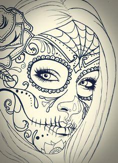 black and white sugar skull girl tattoo Sugar Skull Mädchen, Sugar Skull Girl Tattoo, Girl Skull, Sugar Tattoo, Cute Tattoos, Girl Tattoos, Sexy Tattoos, Tatoos, Tattoo Crane