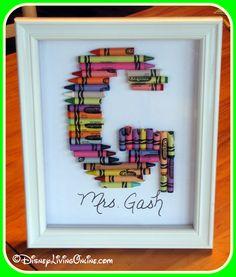 Framed Crayon Monogram - Great teacher's gift!