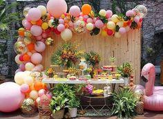 Custom Party Balloon Garland Event Decor by BloomsParty on Etsy Confetti Balloons, Balloon Garland, Balloon Decorations, Balloon Backdrop, Hawaiian Party Decorations, Birthday Decorations, Diy Girlande, Luau Birthday, Birthday Ideas