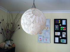 Doily pendant DIY light Diy Light, Dim Lighting, Doilies, Ceiling Lights, Pendant, Home Decor, Decoration Home, Room Decor, Hang Tags