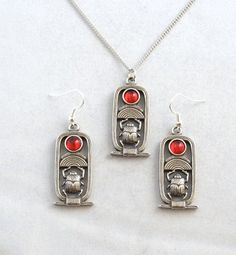 Scarab necklace and earrings