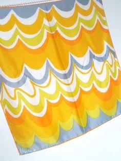 Sun Waves - a vintage 1960's Vera Neumann Lucky Ladybug, Optical Art yellow orange grey