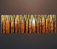 """ORIGINAL Large 60 """" Triptych Abstract Painting Golden Enchanted Forest Tree Landscape Autumn Sunset - ENCHANTED FOREST. $250.00, via Etsy."""