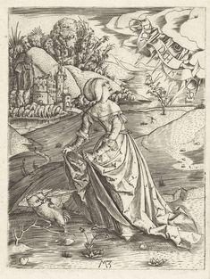 De vrouw met de uil, Monogrammist MZ, 1500. Lady with an owl.