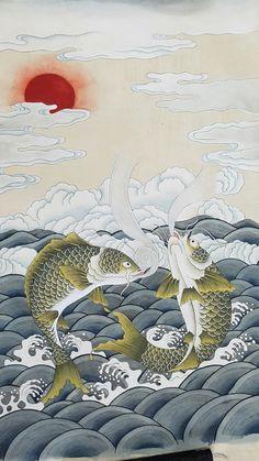 약리도 Korean Painting, Japanese Painting, Chinese Painting, Chinese Art, Koi Art, Fish Art, Banksy Graffiti, Korean Art, Color Pencil Art