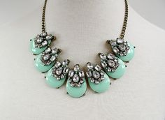 Anne Emma Jewelry - Oval Mint and Clear Jewel Statement Necklace | Found on Etsy