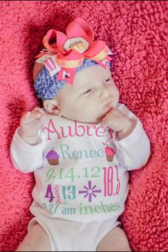 Birth Announcement  ONESIES(R) underwear Personalized Newborn or 0-3 Month Size Choose any Color Birth Announcement Baby Shirt Bodysuit