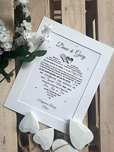 Wedding Vow Renewal Gifts, Renewal of Wedding Vows, Unique Personalised Poem, Unframed print for frame, Dark grey font with Silver glitter hearts Star Wedding, Wedding Vows, Bride And Groom Gifts, Unique Words, Personalized Wedding Gifts, Special Day, Place Card Holders, Amazon Gifts, Poems