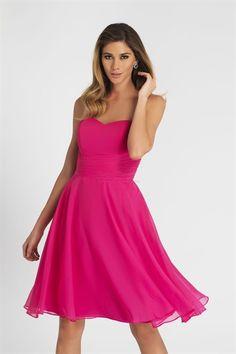 Magenta Cocktail Dress, Short Chiffon Bridesmaid Dress, Cocktail Dress  $98.00