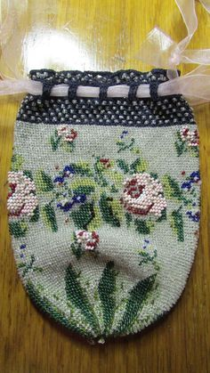 19thC Antique Micro Beaded Victorian Floral Purse Bag, Woven Draw String #Handmade #Drawstring