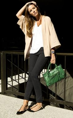 black jeans, bright white tank,awesome  tan topper, incredibly wonderful just right green color hand bag, and then those fabulous almost not even there t-straps - well..it all works for me....fun dressing!!