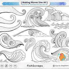 Machen Wellen digitalen Stempel, PNG Linie Kunst + Silhouetten, Wasser-ClipArt, Küsten-ClipArt, Ocean Bilder, nautische Sea Life