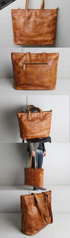 Handmade brown leather women tote bags