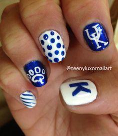 university of kentucky nail art Toe Nail Designs, Nail Polish Designs, Uk Nails, Hair And Nails, The Maxx, University Of Kentucky, Kentucky Wildcats, Nail Art Videos, Beauty Tips For Hair