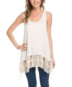 Love this Avenue Hill Natural Lace-Accent Scoop-Neck Tank by Avenue Hill on #zulily! #zulilyfinds