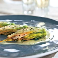 Chef Eric Ripert's Crab-Stuffed Zucchini Flowers with Mustard Butter Sauce Recipe at Epicurious.com