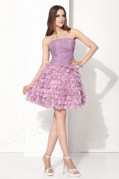 Lovely A-Line Strapless Knee Length Organza Purple Cocktail Dress COUM13001 #cocomelody #dresses #woman #fashion #fashionstyle